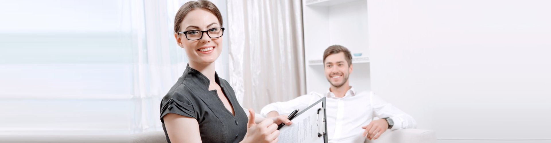 smiling female consultant at the office